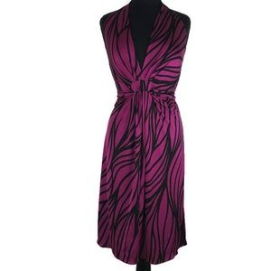Elie Tahari Sarah backless purple silk dress Large
